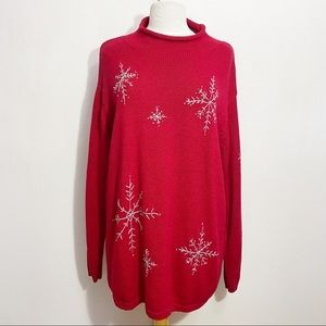 VILLAGER Signature roll neck snowflake sweater 2X
